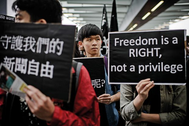 Protesters attend rally to support press freedom, Hong Kong