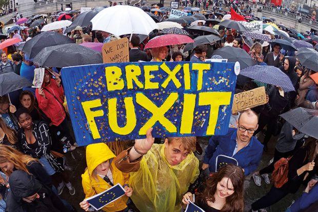 Protestors at anti-Brexit demonstration, Trafalgar, Square, London