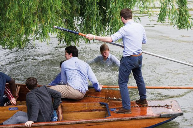 Man falls into water while punting