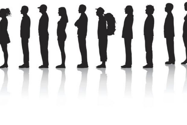 A queue in silhouette