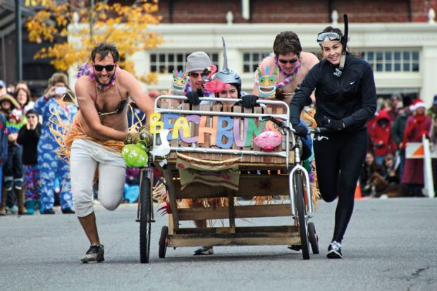 Racers at annual bed races, Bar Harbor, Maine