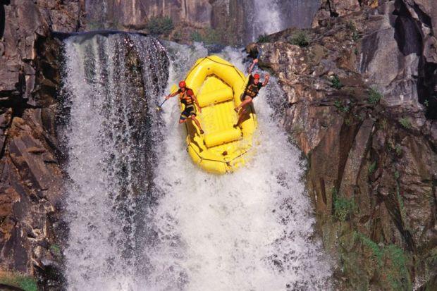 raft waterfall jump