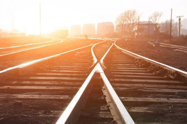 Railway tracks converging