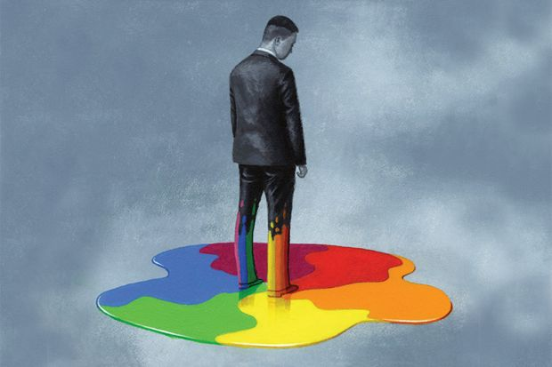 A man in a suit standing in rainbow paint (illustration 21 June 2018)