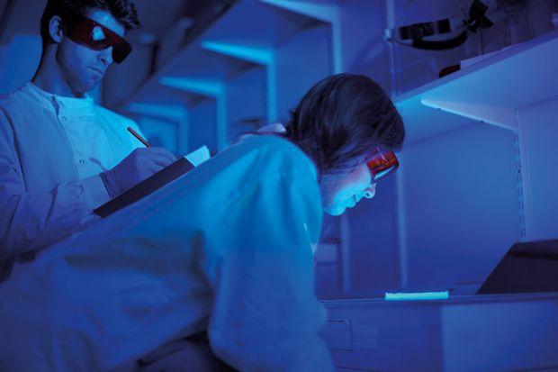 researchers-blue-light