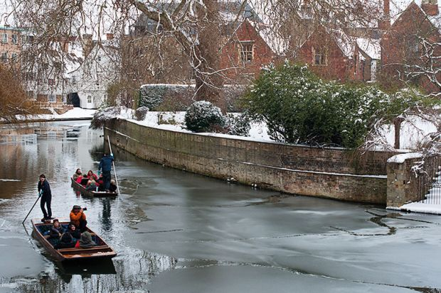 Punting down river in winter