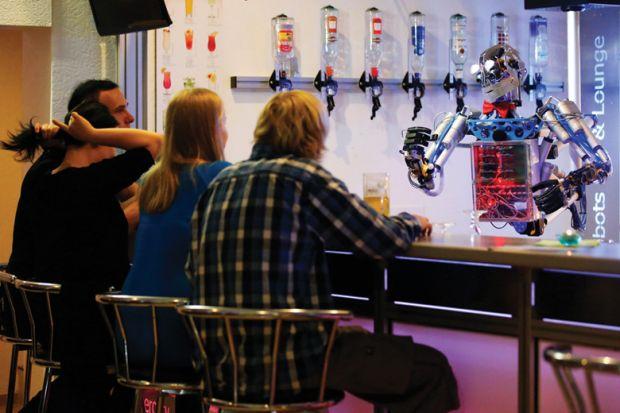 Robot bartender serving customers, Ilmenau, Germany