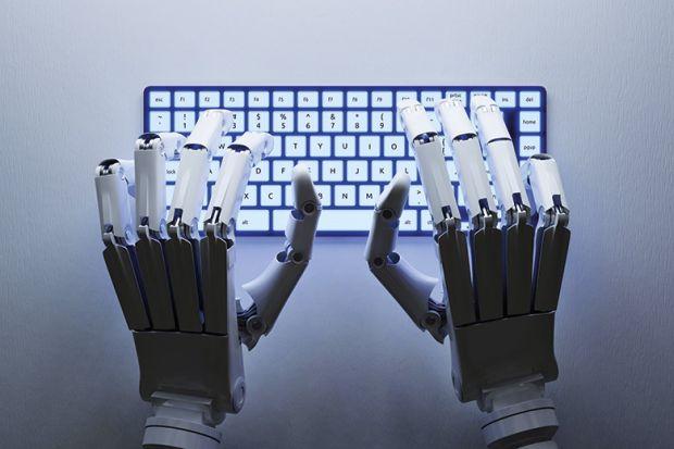 Robot typing on keyboard