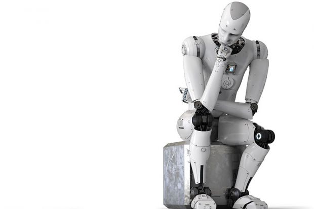 Robot in thinker pose
