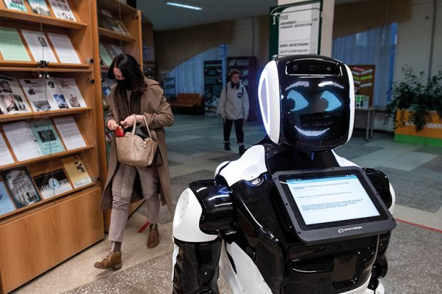 Smiling robot illustrating a digital tool that can tell academics how decolonised their curricula are