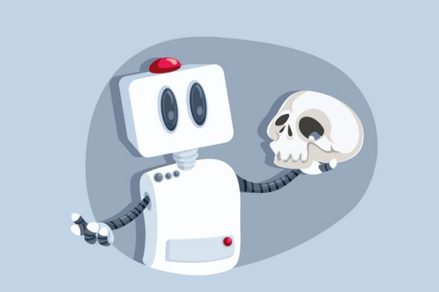 A robot holds a skull like Hamlet, symbolising humanities in the digital era