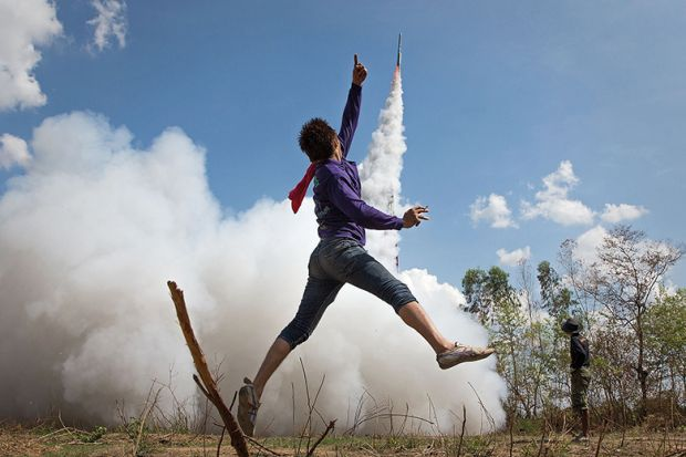 Rocket blasts off