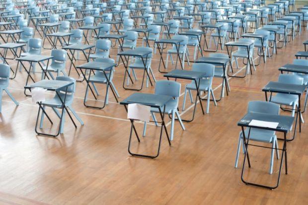 Rows of exam desks