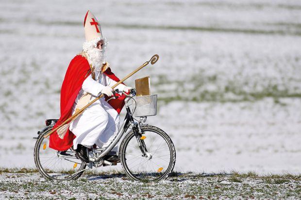 Saint Nicholas on a bike