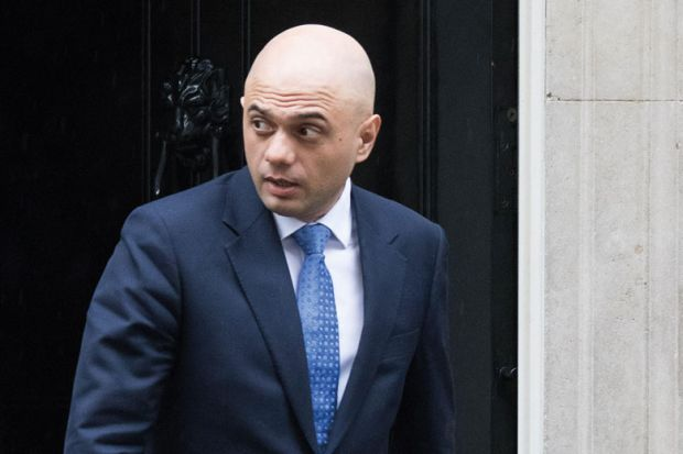 Sajid Javid exiting 10 Downing Street, London, England