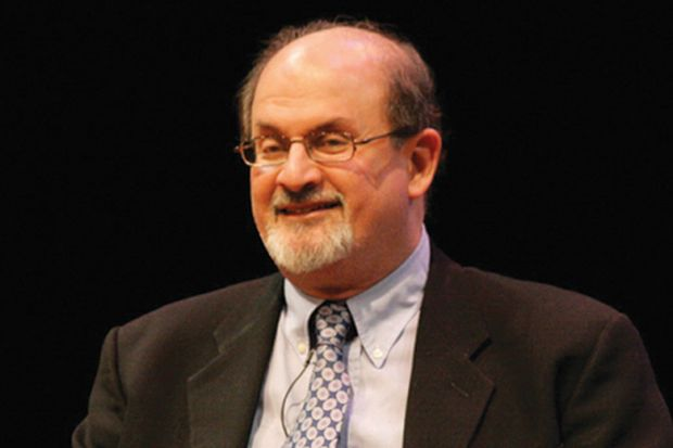 Salman Rushdie speaking during interview