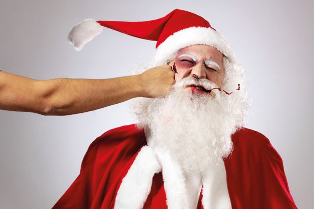 Santa Claus/Father Christmas getting punched in the face