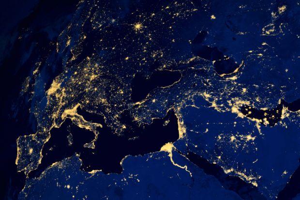 European countries earth night