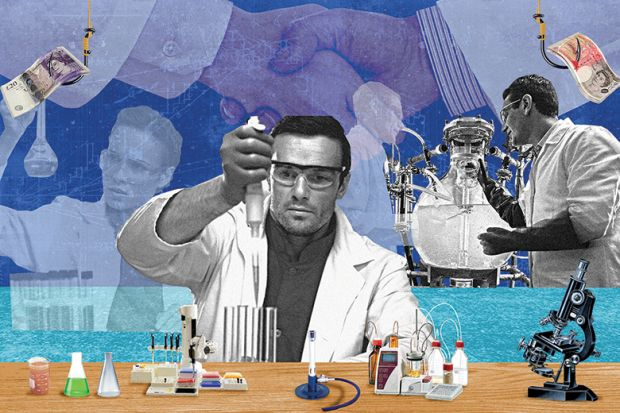An illustration of scientists in the lab by Miles Cole (9 August 2018)