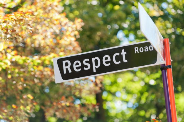 """A street sign reading """"Respect Road"""" illustrating the theme of sexual harrassment"""