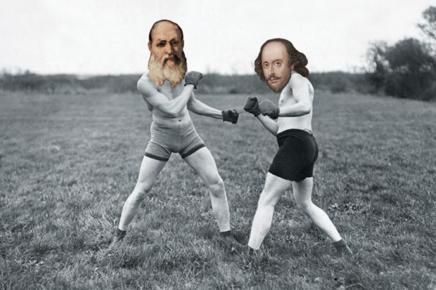 Shakespeare and Plato fist-fighting in field
