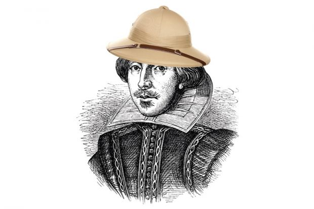 Shakespeare wearing safari hat (illustration)