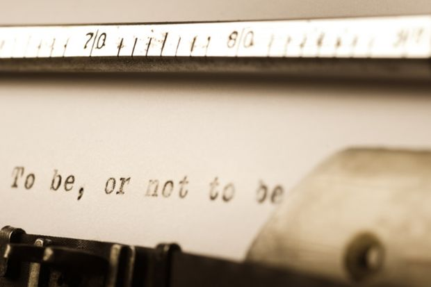 A line of Shakespeare on a piece of typewriter paper