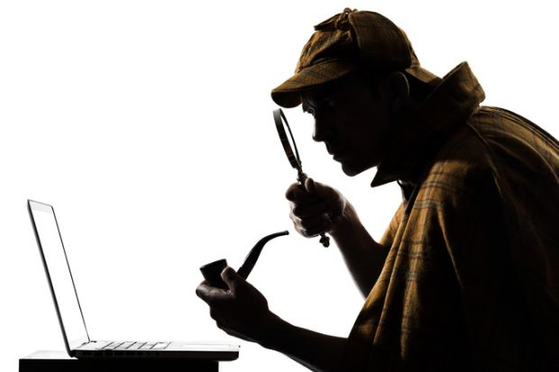 Sherlock Holmes laptop computer silhouette illustrating investigation of buyout by Turnitin of Ouriginal anti-plagiarism technology, ACCC