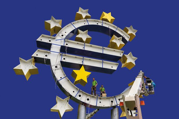 giant illuminated euro sign