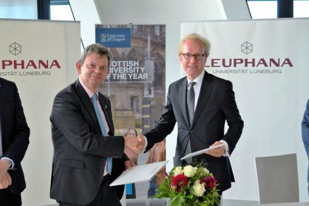 Sir Anton Muscatelli (left), principal of the University of Glasgow, with Sacha Spoun, president of Leuphana University of Lüneburg
