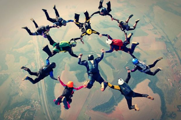 skydiving team collaboration cross-discipline