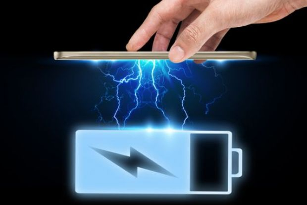 Smart phone interaction battery icon with power effect