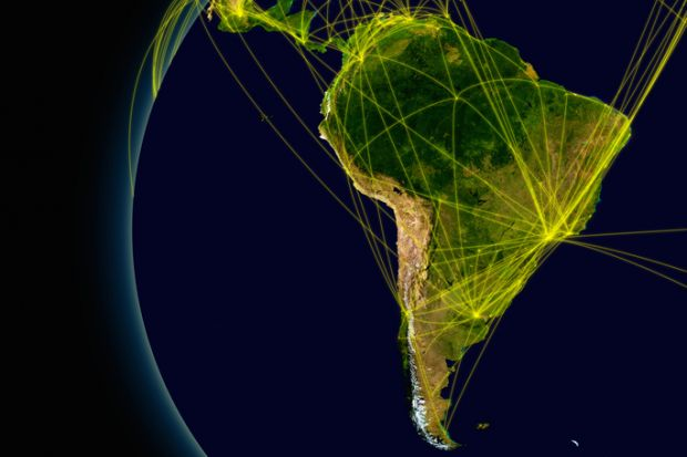 South American connections illustrating connections between national university systems