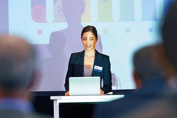 female conference speaker