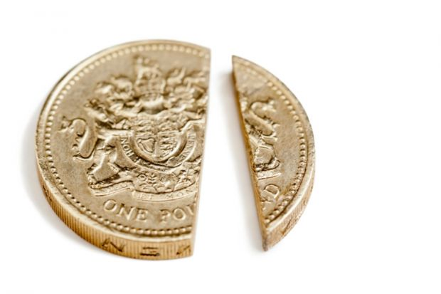 Split pound coin