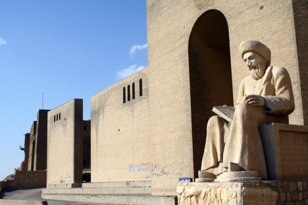 Statue of Kurdish poet outside Citadel of Erbil