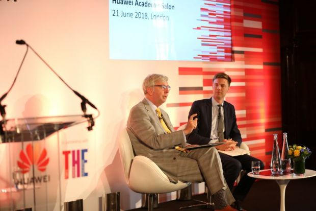 Stephen Toope, vice-chancellor of the University of Cambridge, in conversation with John Gill, editor, Times Higher Education, at the Huawei Academic Salon