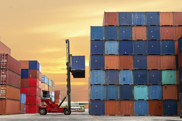 Forklift stockpiling containers
