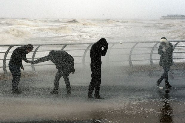 storm on seafront