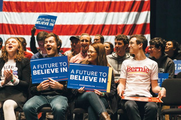 Student supporters of US presidential candidate Bernie Sanders