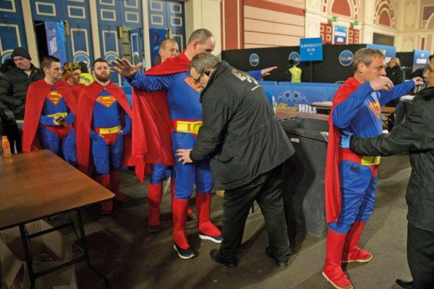 Superman at security control