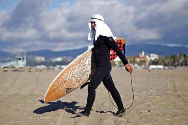 Surfer at Halloween surf contest, Santa Monica, Los Angeles, California