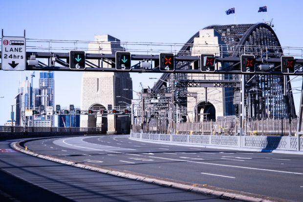 Sydney Harbour Bridge during lockdown
