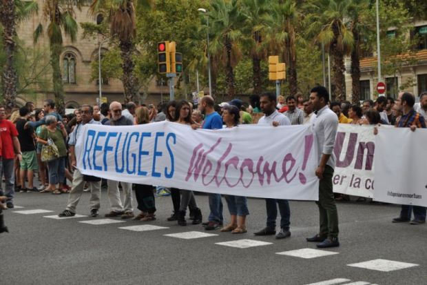 Pro-refugee demonstration, Barcelona
