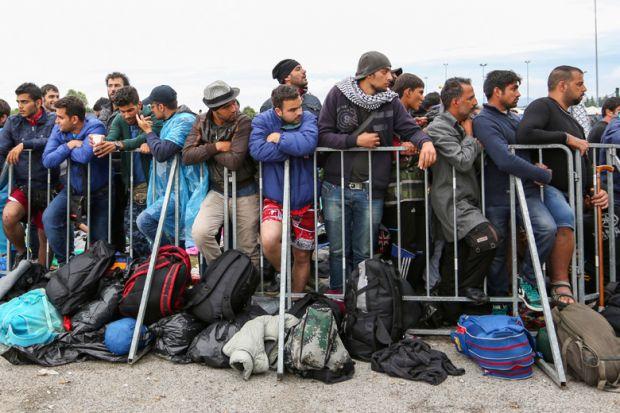 Syrian refugees. Slovenian border with Croatia, 2015