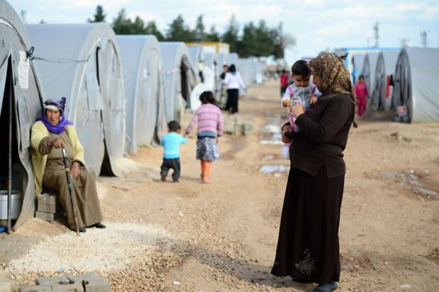 Syrian refugees at a camp in Turkey