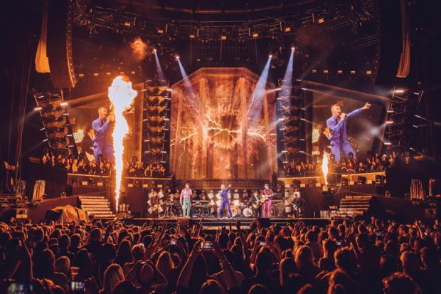 Take That onstage, The O2 arena, London