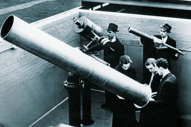 people using huge telescopes