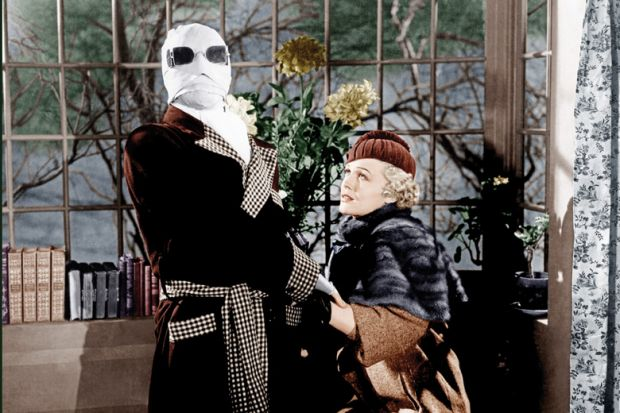Claude Rains and Gloria Stuart in The Invisible Man, 1933