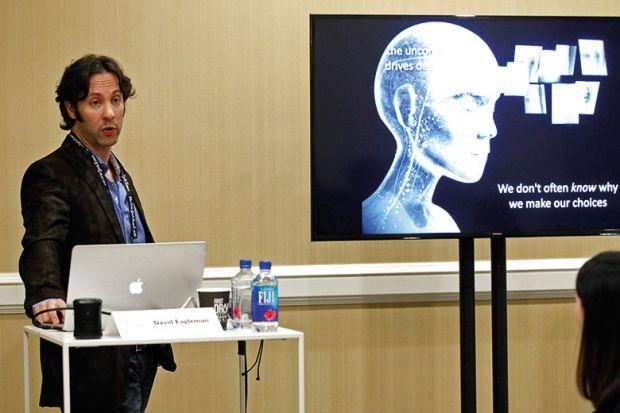 Neuroscientist David Eagleman gives a presentation